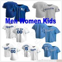 사용자 정의 2021 남자 여성 청소년 야구 유니폼 5 조지 브렛 4 알렉스 고든 13 살바도르 페레즈 15 부 엉 메릴 스티치 키즈 저지