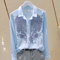 Women's Blouses & Shirts Flower Embroidery Women 2021 Summer Turn-Down Collar Long-Sleeved Solid Office Lady Elegant Outwear Coat Tops