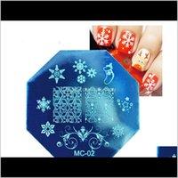 Tema natalizio Nail Stamping Piatti in acciaio inox Xmas Snowflake Designs Nails Art Modello Modello immagine Piastra immagine TB9VD ZGTME