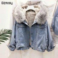 Gizmosy Big Faux Fur Collar Denim Jacket Women Winter Hooded Warm Jean Jacket Student Basic Short Parkas Female Bomber Coat 211019