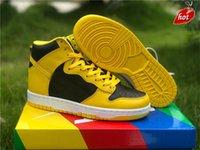 أصيلة دونك ارتفاع sp اسكواش الذرة ميشيغان أحذية الرجال النساء الأسود الأصفر منتصف الليل البحرية zapatos أحذية رياضية مع المربع الأصلي