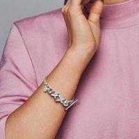 925 Sterling Silver Hand Chain Bracelets Original Box for Pandora Knotted Heart Bracelet Women designer ps0883