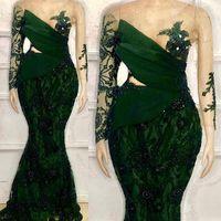 2021 Dark Green Evening Dresses Mermaid vestidos Custom Made Luxury Beaded Lace Long Sleeves Illusion Bodice Sequins Scoop Neck Plus Size vestido