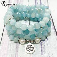 Beaded, Strands Ruberthen 8 Mm Aqua Marine Pearl 108 Mala Bracelet Women`s Yoga Meditation Lotus Charm Necklace Handmade Beads Jewelry