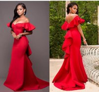 2021 Gorgeous Red Mermaid Bridesmaids Dresses Off the Shoulder Backless Maid of Honor Floor Length Satin Wedding Party Dress Plus Size Cheap