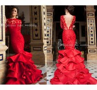 2017 Elegant Red Mermaid Evening Dresses Bateau Neck Long Sleeves Lace Satin Backless Women Prom Dresses Formal Gowns Sweep Train