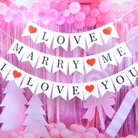 Te amo Banner con swallowtail casarse con las banderas de la bandera para los amantes de las parejas