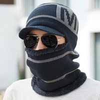 Beanies Thick Fleece Knitted Winter Scarf Hat Set Ear Neck Keep Warm Beanie Hats For Men Soft Balaclava Outdoor Snow Ski Skullies Caps