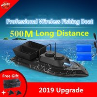 Large Double Hopper Smart WirelControl RC Bait Boat 2.4G 55CM 500M Long Distance Dual Light High Speed RC Lure Fishing Boat X0522