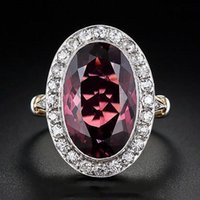 Wedding Rings Double Fair Big Red Stone For Women Luxury Retro Silver Color Oval Zircon Jewelry Gift Wholesale Accessories KBR354