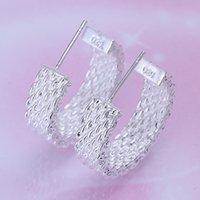 Стерлинговые новые серебристые серебряные серебряные ретикулоциты DFMSE082, женские сережки 925 серебряные черты 10 пар
