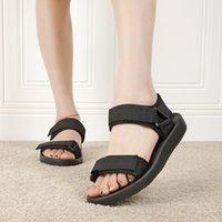B2366 Nefes Platformu Sandalet Kadın Yaz Ultra-Hafif Konfor Flats Ayakkabı Kadın Streç Kumaş Takozlar Siyah Sandles Büyük Boy Bayanlar