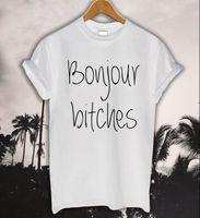 Bonjour Kadınlar T Gömlek Bitches Mektup Baskı Tshirt Pamuk Rahat Komik Bayan Üst Tee Hipster Siyah Beyaz Gri Bırak