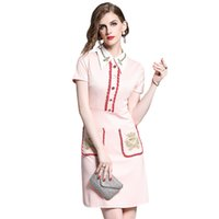 waist, New women's slim dress in summer 2021: fashionable gold thread embroidery, bee color matching Lapel dress with opp bags package