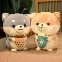 لطيف Shiba inu أفخم الكلب الشرب فقاعة لعب الشاي محشوة لينة huggable الحيوان بوبا وسادة دمى للبنات الاطفال هدايا عيد ميلاد 210804