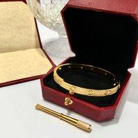 Luxe Volledige Diamond Stone Bangle Rvs Goud Liefde Womens Armband Mode Heren Ondertekenen Kristal Schroevendraaier Manchet Bracbanden Armbanden Sieraden met stofzak