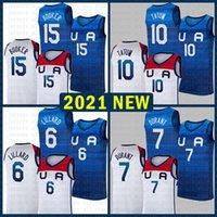 Basquete Jersey Equipe América 2021 EUA Tokyo Verão Olímpica Damian 6 Lillard Kevin 7 Durant Jayson 10 Tatum Devin 15 Booker Negro Azul 826