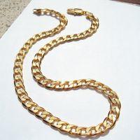 """24 """"Amarelo Acabamento Autêntico de Ouro Sólido 18 K Chain Stamped 10 mm Fina Curb Cubano Colar Colar Feito em"""