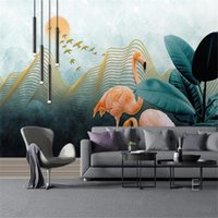Milofi Custom Po Wallpaper Mural Chinese Abstract Golden Lines Landscape Flamingo Background Wall Decorative Painting Wallpapers