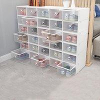 10 قطع صناديق الأحذية مجموعة متعدد الألوان طوي تخزين البلاستيك واضح المنزل الأرجواني حذاء الرف المنظم مكدس عرض مربع