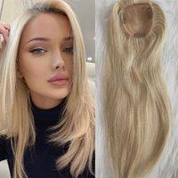 12A Capelli biondi Topper 100% Vergine Vergine Capelli umani # 613 Color clip in capelli Toupee Pezzi per le donne 10x11cm Toppers