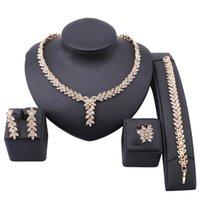 Foglia forma danno drop party crystal wedding orecchino collana braccialetto anello anello africano nigeriano oro colore gioielli set per spose