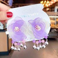 2 шт. / Комплект детей милый фиолетовый розовая пряжа цветочные шпильки девушки прекрасный орнамент колокольчики кисточки волос клипы детские аксессуары для детей