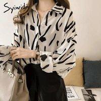 Syiwidii Imprimer T-shirts Femmes Bouton Tops Tops à manches longues Plus Taille 4XL Mousseline de mousseline Vintage Coréen Chemisier blanc Vêtements Black Femme Blous