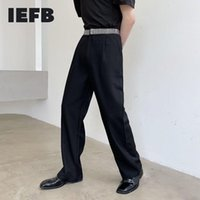 Men's Pants IEFB Homemade Personalized Elastic Belt Patch Design High Waist Trousers Trend Casual Wide Leg Straight 2021 9Y7741