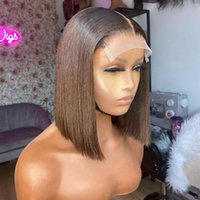 Bob Silky Straight Auburn Ombre 150 Density 100% Human Hair Front Lace Wigs for Black Women Preplucked Hairline Indian Remy Hairs full lacewigs bleached knots