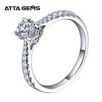 Anel attagems 0.5ct 5.0mm ef rodada ródio plating 925 prata moissanite diamante teste bem sucedido jóias mulher namorada veneno