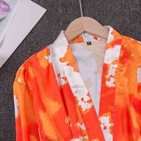 Sleepwear Mulher Pijama Faux Silk Tie-Tintura Verão Fino Impressão de Nightgown Bathrobe Bathrobe Bride Morning Robe Sleepwear XJWR GVXI
