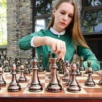 Metal de comercio exterior de estilo europeo de ajedrez, juguetes de rompecabezas de deportes de aleación de zinc, tablero de ajedrez plegable