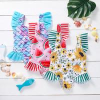 Одежда детская одежда русалка арбуз подсолнечника плавать песчаный пляж флористическая рыба весы фрукты печать купальники детские девочки рюшами купальники летние дети бикини