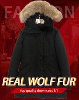 겨울 자켓 숙녀 진짜 늑대 모피 칼라 오리 따뜻한 코트 더덴 펨 메모 코트 슬림 맞는 착용 여성 파크스 방풍 재킷