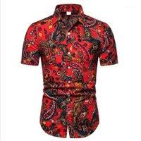 Big Sizes 5XL Men's Casual Shirts Short-Sleeve 2021 Summer Hawaiian Shirt Skinny Fit With Various Pattern Man Clothes 21 Colour1