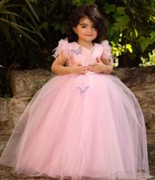 2021 Pink Lace Beaded Flower Girl Dresses Simple Ball Gown Tulle Lilttle Kids Birthday Pageant Weddding Gowns ZJ677