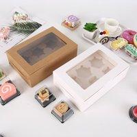 Cajas de cupcake de ventanas transparentes Blanco Papel marrón Muffin Box Baking Embalaje RH2817