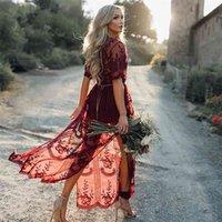 Boho inspired gypsy broderie dentelle maxi robe plonge cou rond souple tonquée robe d'été nouveau sexy plage robe vêtements femelle 210326