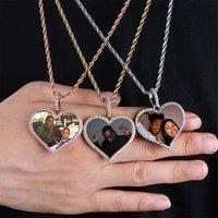 Topgrillz Hecho a medida de la foto Medallones del corazón Colgante del colgante con la cadena de tenis de 4 mm AAA Cubic Zircon Mens Hip Hop Jewelry