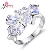 Cluster Rings Trendy Women 925 Sterling Silver White Zircon Elegant Wedding Engagement Ring Jewelry Birthday Gift