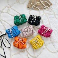 kids pearl handbags sweet fashion baby girls fold Pearls chain single shoulder bag children bow pattern princess messenger bags
