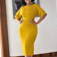 Günlük Elbiseler Sarı Kadın Bodycon Ince Zarif Ofis Bayanlar Iş Giyim Kısa Kollu O Boyun Sıkı Elastik Büyük Boy Afrika Moda