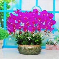 Dekorative Blumen Kränze Simulation Blume Phalaenopsis Set Gefälschte Anordnung Topf Home Decoration Wohnzimmer TV Kabinett Floral