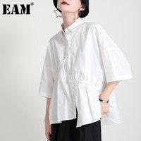 Женские блузки Рубашки [EAM] Женщины Белый Нерегулярный Большой Размер Блуза Осложнеть Трех четверти Рукав Свободная Подходит Рубашка Мода Весна Лето 2021 1