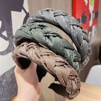 ガールズワイドビッグブレイドレザーヘッドバンドターバン女性ヘアーズバンドのための新しいファッションソリッドカラー厚いスポンジのヘアバンド