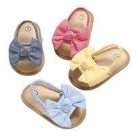 0-18M Новорожденные Детские Девушки Мальчики Сандалии Обувь Бабочка Квартира с пяткой Мягкая Корк Обувь 4 Цвета