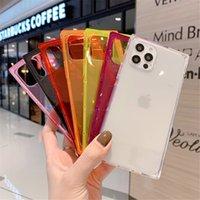 Quadrado néon fluorescente cor sólida telefone casos de telefone para iPhone 12 mini 11 pro max xr x xs 6 7 8 mais caso macio macio tampa traseira