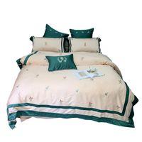 Biancheria da letto Set di Biancheria da letto Lenzuola Egiziana Biancheria da letto in lino Lenzuola Long Staples Duvet Covers Cotton Brey Set Bedclothes ricamato moderno