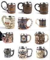 Son Kafatası Kupalar Paslanmaz Çelik Viking Içme Kupası İskelet Bira Stein Tankard Kahve Kupa Çay Tumbler Cadılar Bayramı Bar Drinkware Hediye FY4730